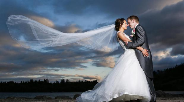 Paula and Keith Rooney who were married at St Michael's Church in Mulleek