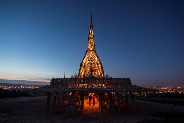 Visitors at the Temple in Londonderry, by Burning Man artist David Best