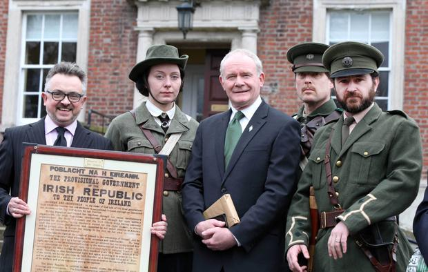 Deputy First Minister Martin McGuinness with actors in period costume at the 1916 Easter Rising event in Clifton House, Belfast, including Bartle D'Arcy (left), who is helping organise the centenary plans