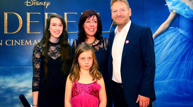 Sir Kenneth Branagh with Jennifer Johnstone and Sara Gray from In tune Film and Jessica Johnstone at the Cinderella screening in Movie House Cinema on the Dublin Road in Belfast yesterday