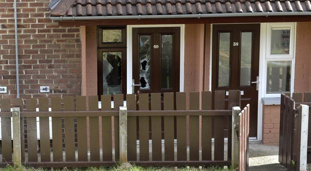 The flat in Ballyronan Park in Rathcoole where a 47-year-old woman was shot in both legs by masked men on Sunday