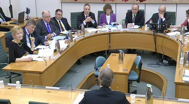 Tony Blair answers questions at the parliamentary inquiry into the OTRs letters