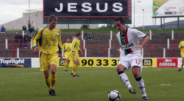 Glentoran and Bangor lock horns in an Irish League encounter played on a Sunday at the Oval in 2008, a game which prompted protests