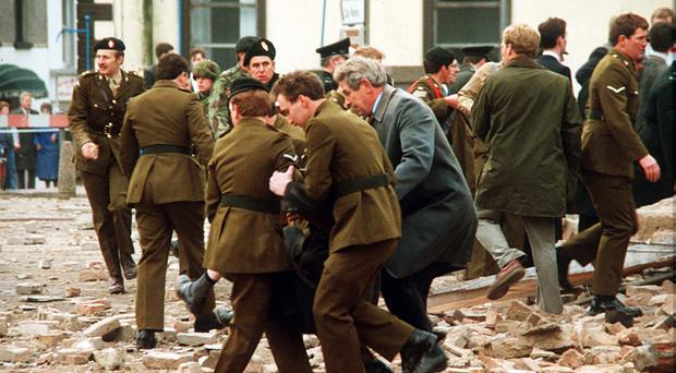 The scene of the Enniskillen bomb seconds after the blast in 1987