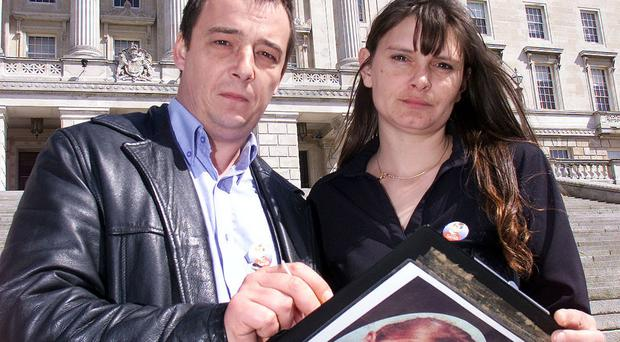 Sarah Payne's parents, Michael and Sara, visit Stormont in April 2002 to petition Assembly members over the introduction of Sarah's Law