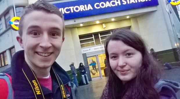Queens students James Rodgers and Emma-Jane Faulkner in London