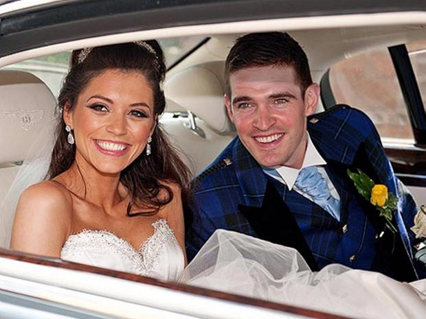 Kyle Laverty on his wedding day with former Miss Scotland Nicola Mimnagh