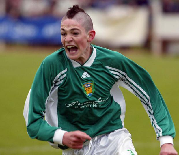 Thirteen-year-old Kyle Lafferty celebrating a goal in the 2002 Milk Cup
