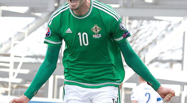 Kyle Lafferty after his second goal against Findland at Windsor Park on Sunday