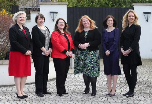 Some of Alliance's Westminster candidates at the party's election campaign launch, from left, Yvonne Boyle (East Londonderry), Jayne Dunlop (North Antrim), Kellie Armstrong (Strangford), Naomi Long (East Belfast), Paula Bradshaw (South Belfast), Kate Nicholl (Newry and Armagh)