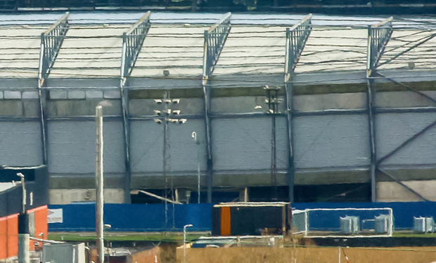 The subsidence is visible here with the West Stand clearly running off centre