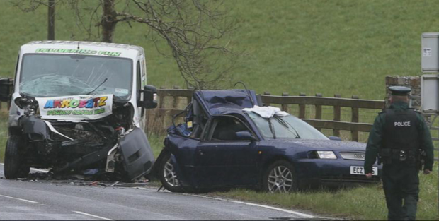 Police at the crash scene in Co Fermanagh last week. A boy involved in the crash died in hospital this weekend