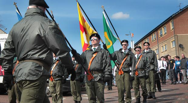 The 1916 Easter Rising commemoration ceremony held on Easter Monday at Derry City Cemetery