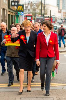 Eddie Izzard (left) and Labour candidate for Finchley and Golders Green, Sarah Sackman, campaigning in north London yesterday