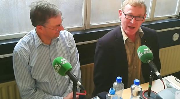 Ian Malcolm (right) with Eamon O Cuiv during the RTE radio show