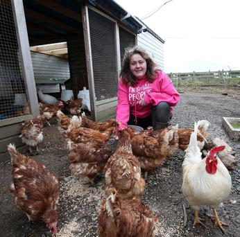 Barbara Mladek who set up Nut House Hen Rescue and Rehoming centre in Moria