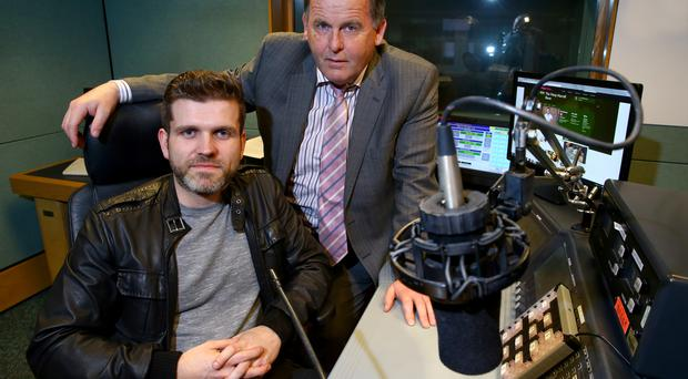 Vinny Hurrell and Dr Patrick Keane in the BBC's radio studio in Belfast