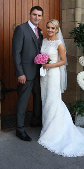 Bronagh and David Cobain on their wedding day at St Michael's Church, Enniskillen