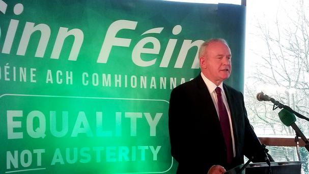 Stormont's deputy first minister Martin McGuinness speaks during a Sinn Fein candidate launch in Belfast