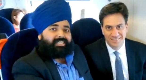 Amandeep Singh Bhogal with Labour leader Ed Miliband