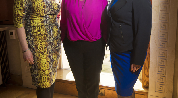 Agriculture Minister Michelle O'Neill (centre) with Sandra Overend MLA (left) and Paula Bradley MLA at the launch of the Women in Politics leadership programme at Stormont yesterday