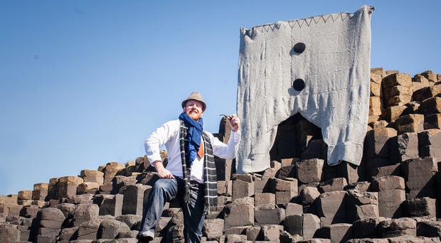 More than 150 knitters helped create pants with a 170-inch waist for display at the Giant's Causeway in Northern Ireland