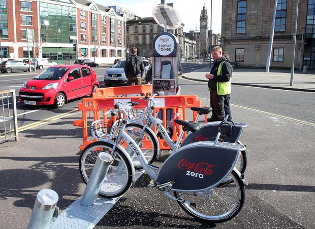 Belfast bikes: one of the pick-up points