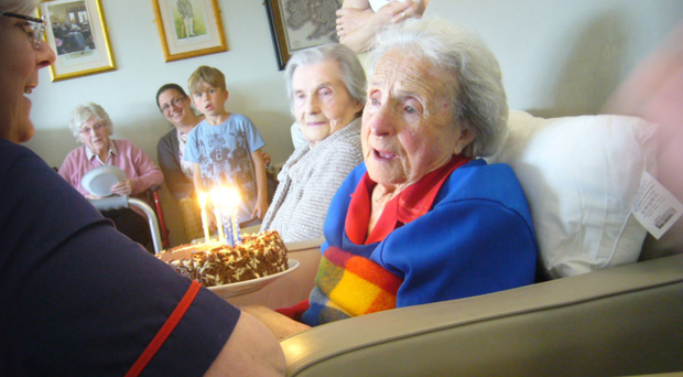 Jean Webster, 109 years young, is surrounded by friends and family at her birthday party yesterday