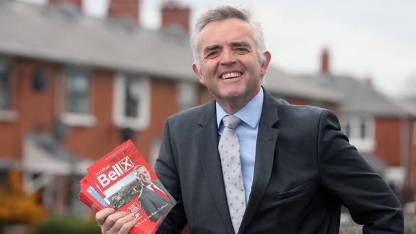 DUP candidate Jonathan Bell on the campaign trail in South Belfast