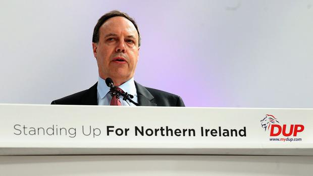 Democratic Unionist Party deputy leader Nigel Dodds during the party's General Election manifesto launch in Antrim