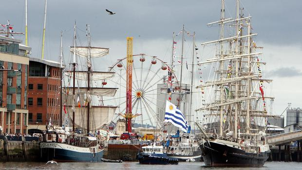 The Tall Ships berthed in Belfast in 2009