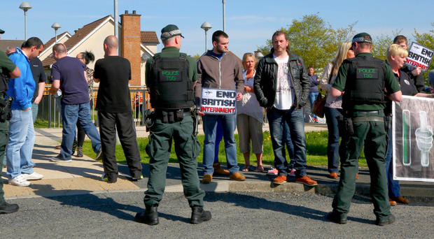 Supporters of Dee Fennell outside Craigavon Courthouse yesterday