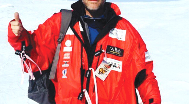 Thumbs up: David Mercer en route to the Arctic