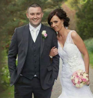 Tragic Fermanagh hurler Shane Mulholland on his wedding day last April with his bride Catherine