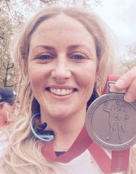 Eireann Kerr with her medal after completing the London Marathon
