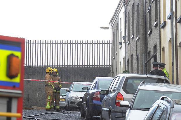 The scene at DeBurgh Square in Derry where a man in in twenties died in a house fire on Monday morning