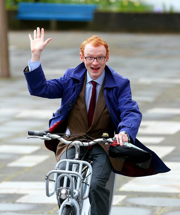 Belfast Telegraph journalist Christopher Woodhouse out and about on a Belfast bike