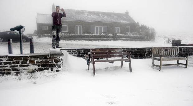 Snow on the A686 near Harside on the Cumbria border, as unseasonably cold weather returned to parts of the UK