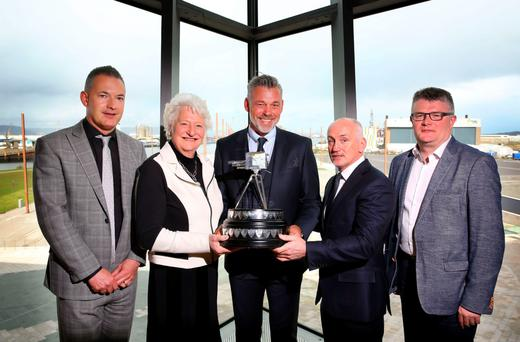 SPOTY editor Carl Doran, Dame Mary Peters, Darren Clarke, Barry McGuigan and BBC Northern Ireland director Peter Johnston in the Titanic Slipway yesterday