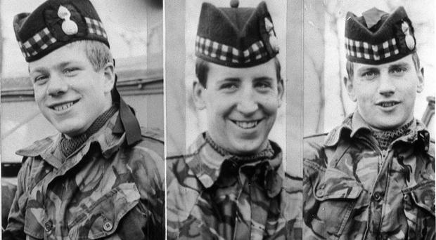 The three soldiers, John McCraig, left, his brother Joseph, and Dougald McCaughy, who were killed in Ligoniel on the outskirts of Belfast