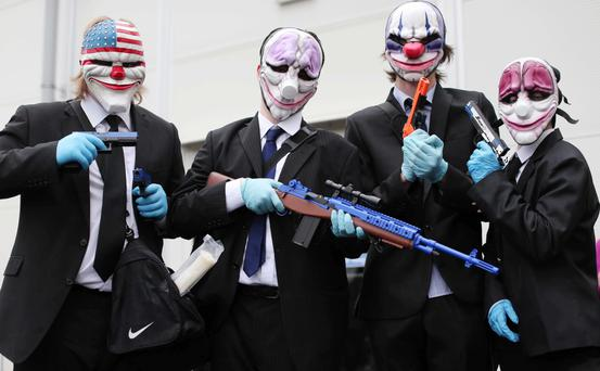 Ricky Lowry, Chris Curry, Aaron McCracken and Will Parks as bank robbers from the video game Pay Day — The Heist