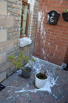 The home of Deputy First Minister Martin McGuinness was attacked with paint on Sunday night