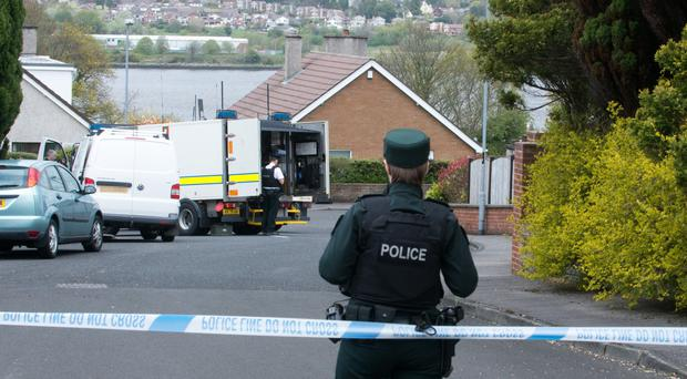The scene at the rear of the base in Derry where the partially detonated devices were discovered yesterday