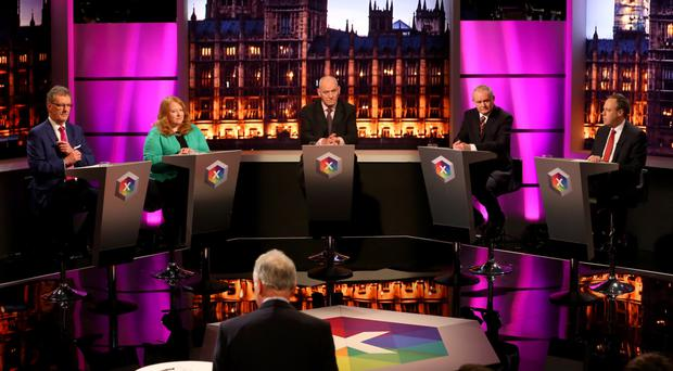 Noel Thompson chairs the debate between (from left) Mike Nesbitt, Naomi Long, Mark Durkan, Martin McGuinness and Nigel Dodds