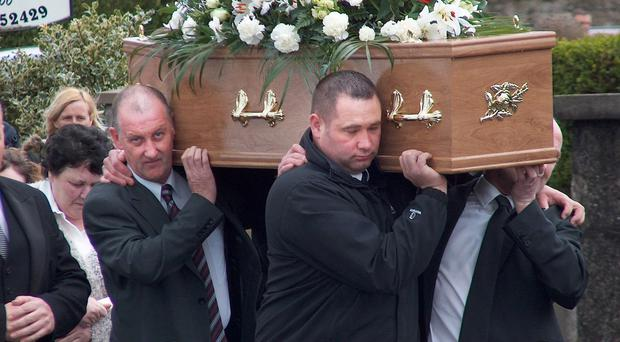 The funeral of murder victim Matt Shirley takes place in Ballymena yesterday