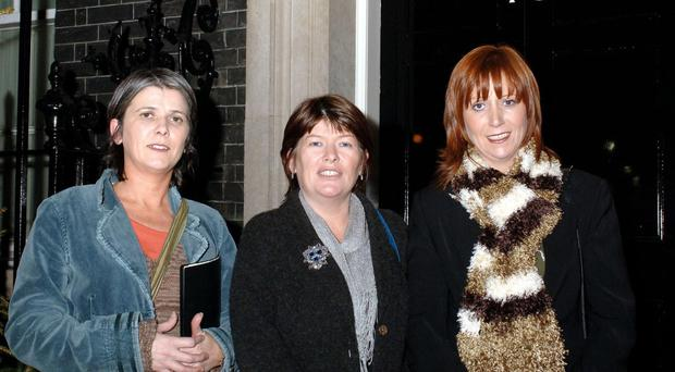 Catherine (left) and Paula (centre) McCartney with family friend Sinead Commander outside Number 10 Downing Street after meeting PM Tony Blair