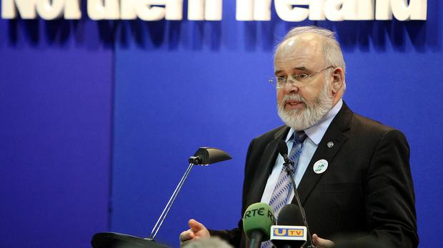 Sinn Fein candidate Francie Molloy speaking after being elected MP for Mid Ulster, at the count centre in Cookstown Leisure Centre, Co Tyrone