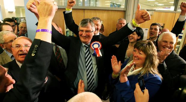 UUP candidate for Fermanagh and South Tyrone Tom Elliott celebrates after his victory