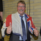 The DUP's Sammy Wilson enjoys the moment after retaining his seat in East Antrim