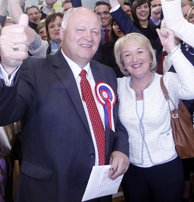 David Simpson with wife Elaine following his victory in Upper Bann